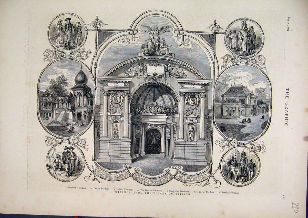 Print 1873 Vienna Exhibition Moravian Workmen Pavilion Jury 30Mar1 Old Original