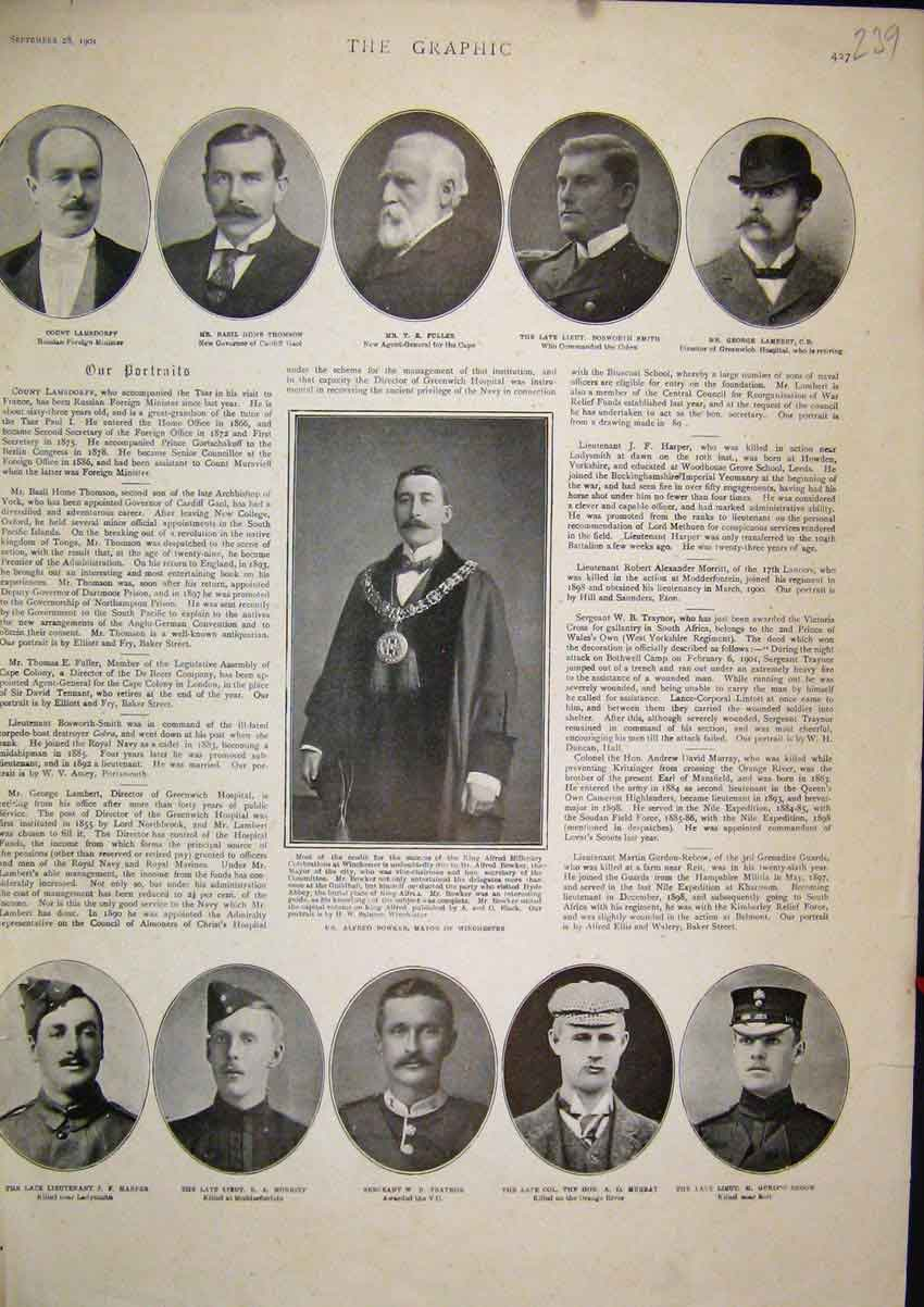 Print 1901 Portraits Count Lamsdorf Fuller Bowker Mayor 39Mar1 Old Original