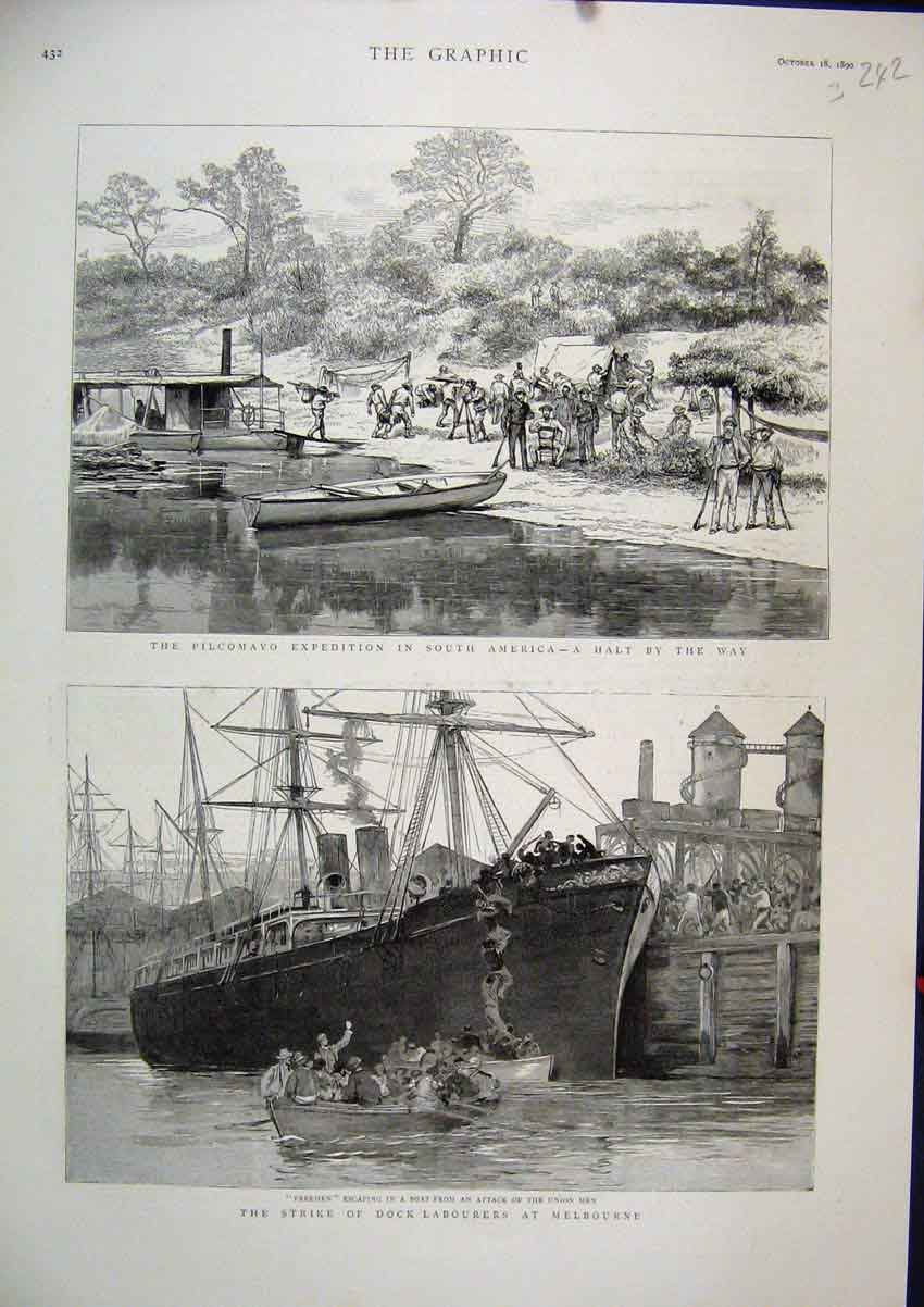 Print 1890 Strike Dock Labourers Melbourne Pilcamayo America 42Mar1 Old Original