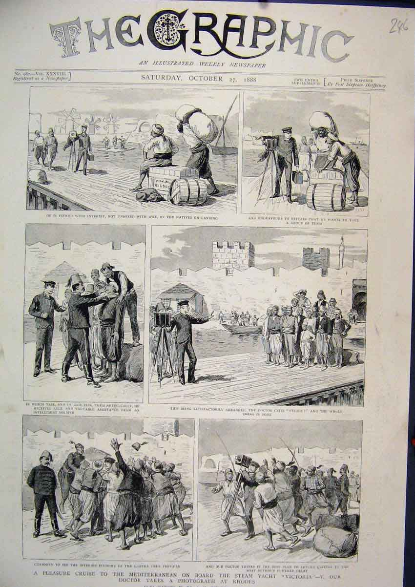 Print 1888 Pleasure Cruise Mediterranean Steam Yacht Victoria 46Mar1 Old Original