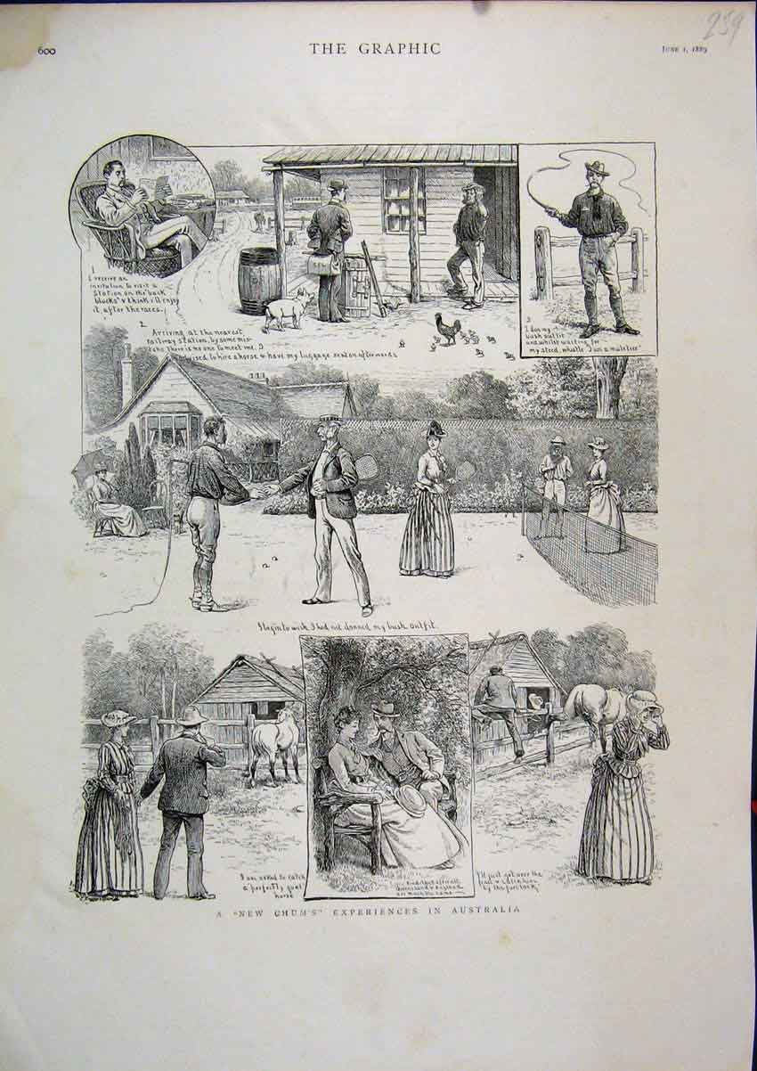 [Print 1889 Australia Tennis Horse Whip Reading Comedy Sketch 59Mar1 Old Original]