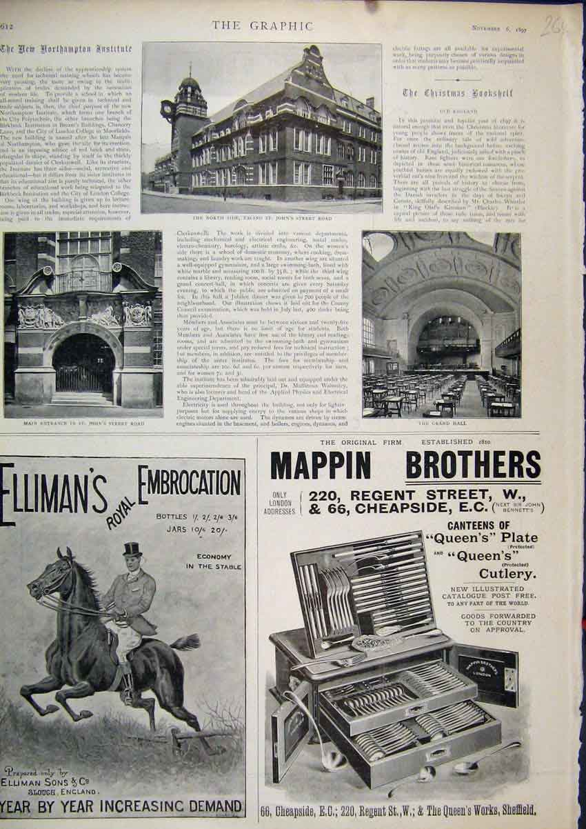 Print Advert 1897 Elliman Embrocation Mappin Brothers Cutlery 64Mar1 Old Original