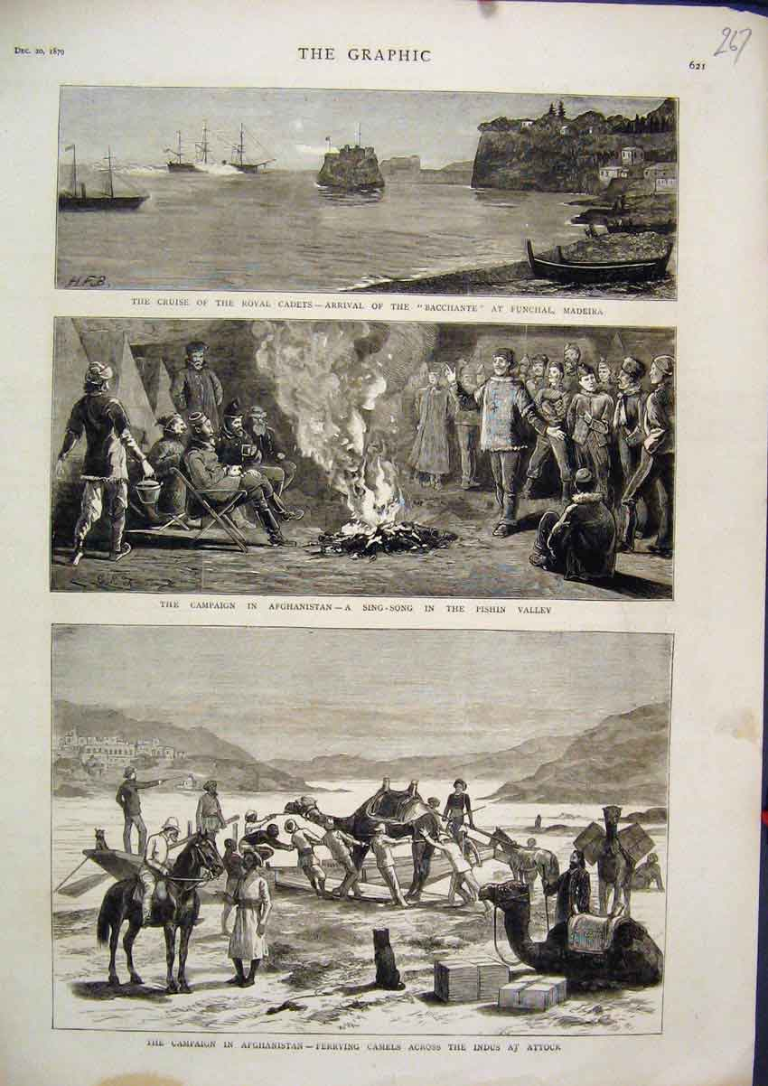 [Print 1879 Afghanistan Cruise Royal Cadets Funchal Camels 67Mar1 Old Original]