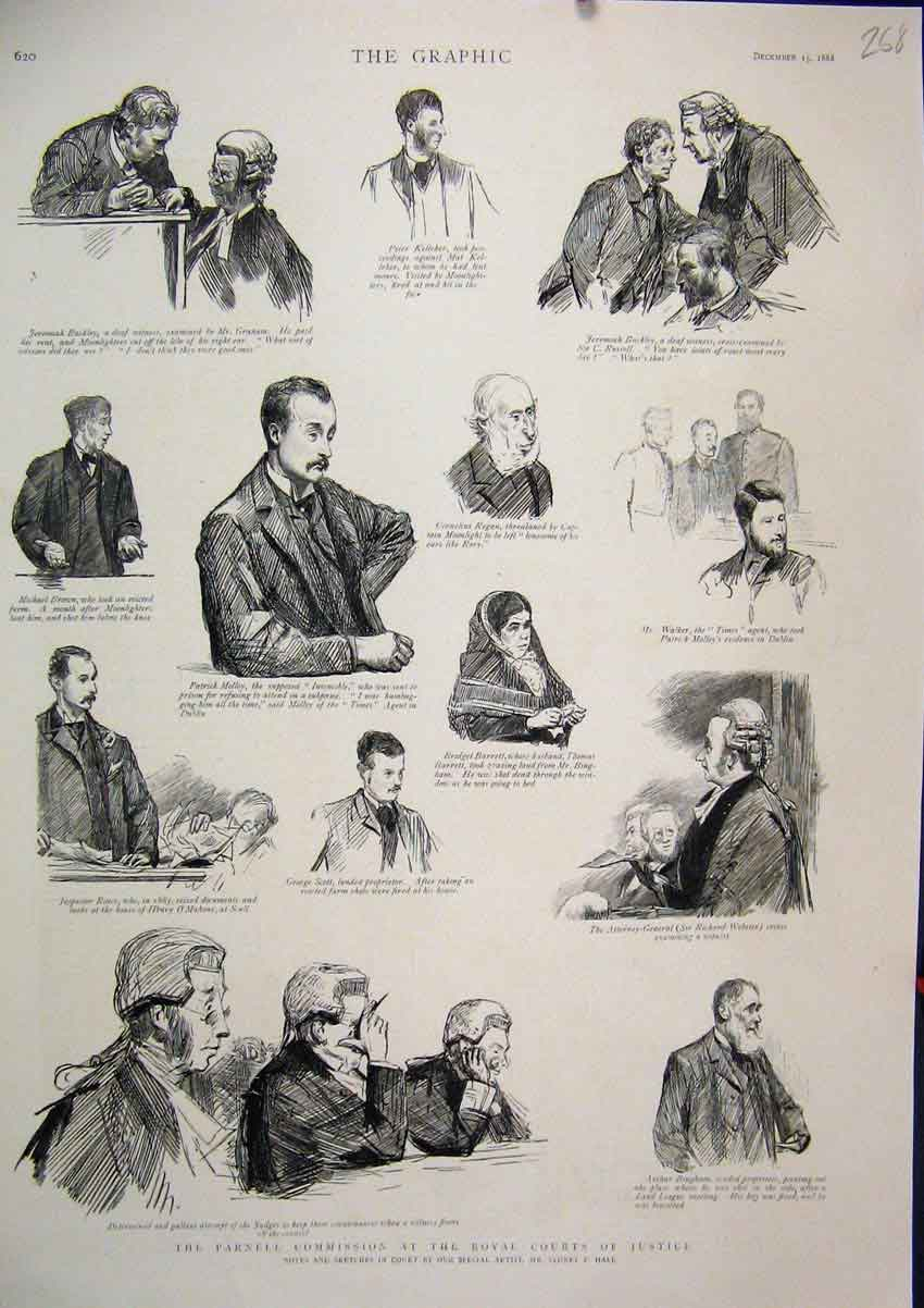Print 1888 Parnell Commission Royal Court Justice Witness 68Mar1 Old Original