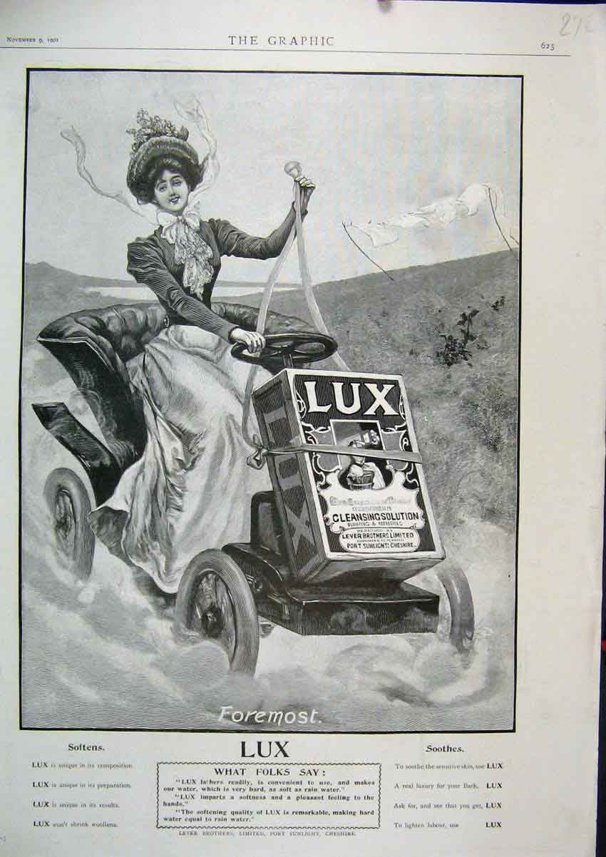 Print 1901 Advert Lux Cleansing Solution Woman Motor Car 72Mar1 Old Original