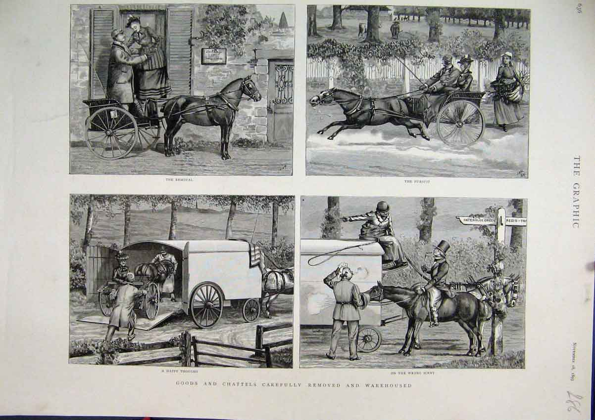 Print Goods Chattels Removal 1893 Horse Carriage Chasing 86Mar1 Old Original