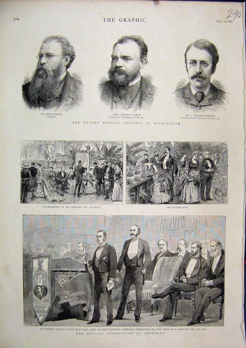 Print British Association Aberdeen 1885 Flower Art Musical 90Mar1 Old Original