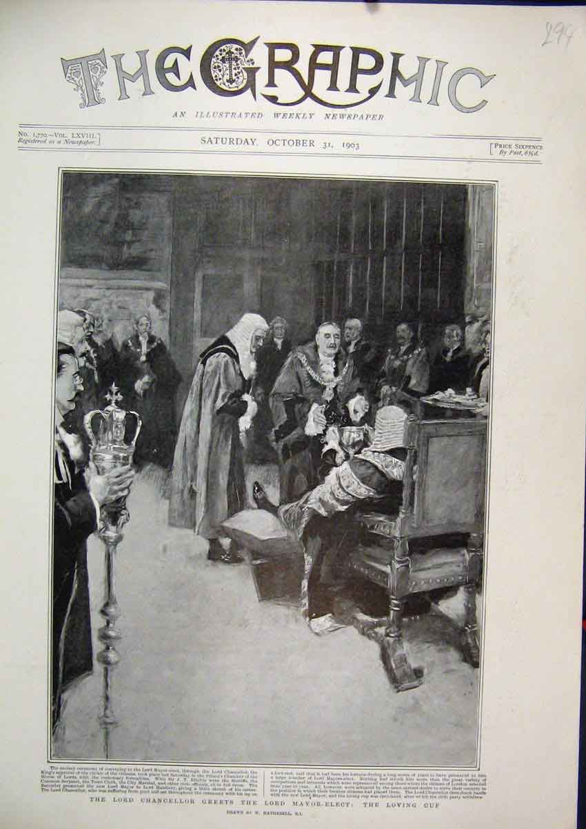 Print 1903 Lord Chancellor Greets Mayor-Elect Loving Cup 94Mar1 Old Original