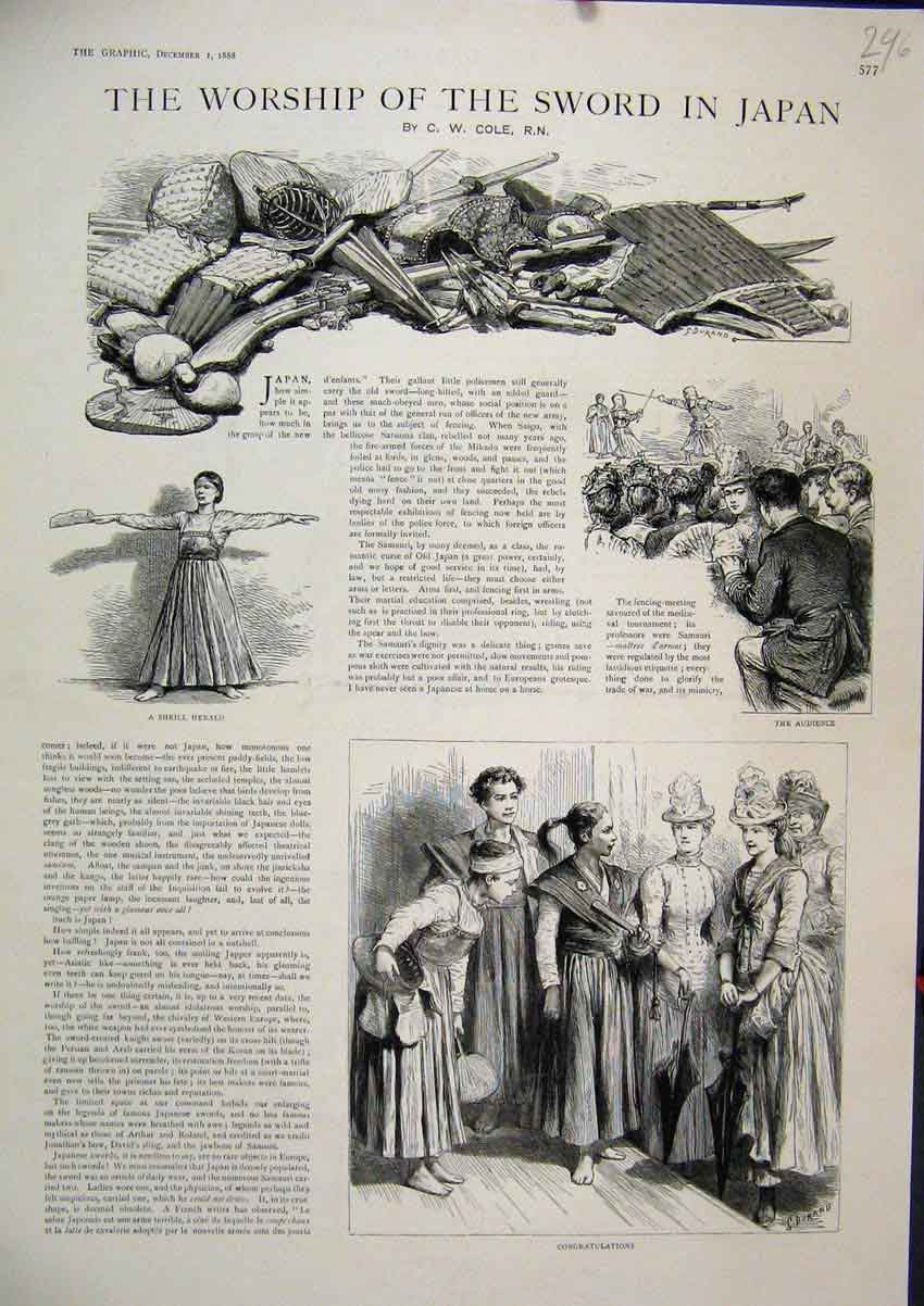 Print Worship Sword Japan 1888 Shrill Herald Audience Sport 96Mar1 Old Original