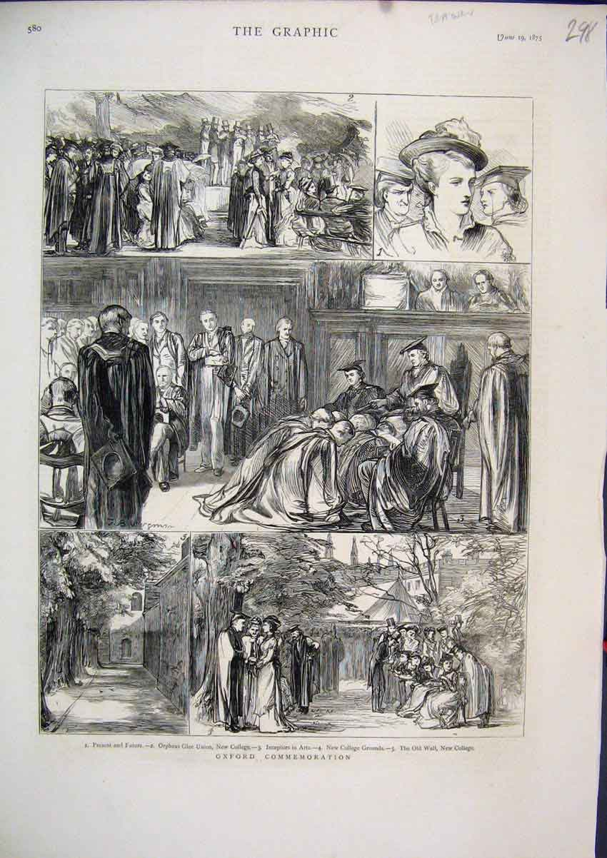 Print 1875 Oxford Commemoration Orpheus Glee Union College 98Mar1 Old Original
