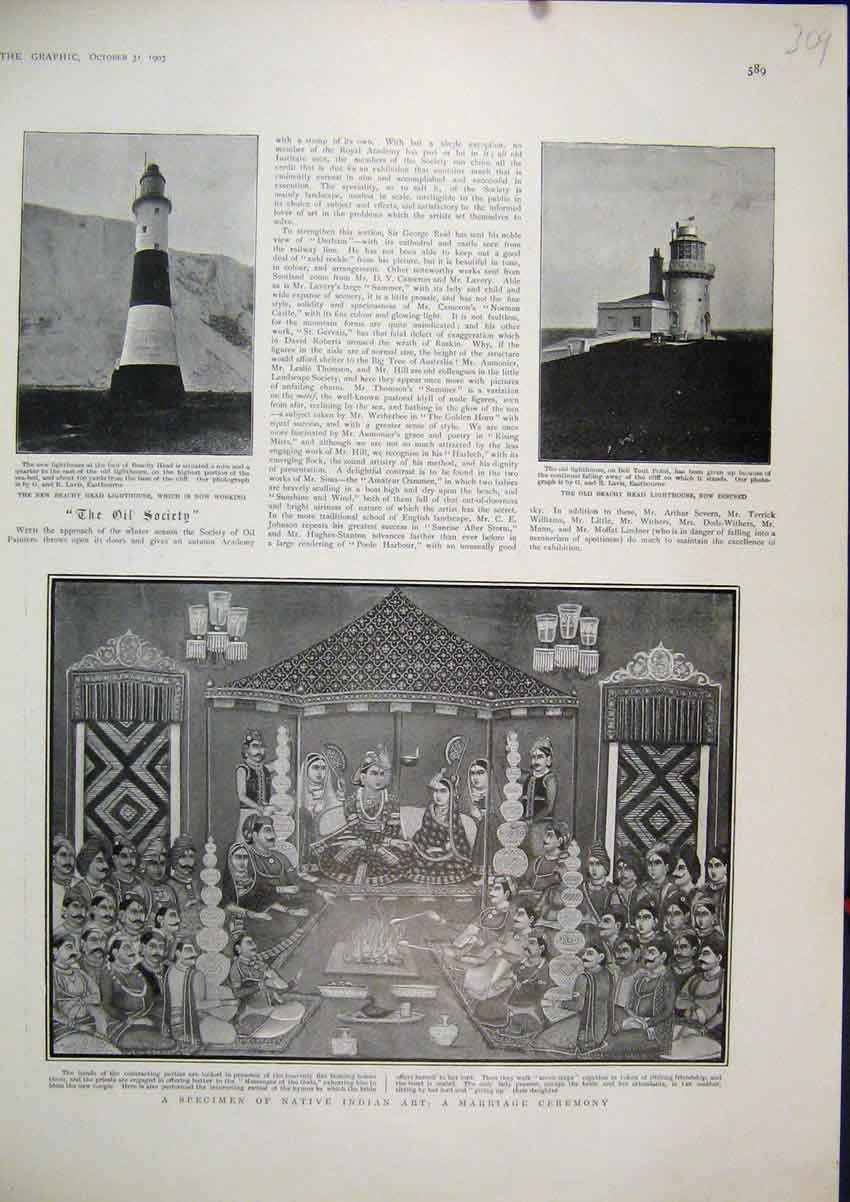Print 1903 Native India Art Marriage Ceremony Beachy Head 09Mar1 Old Original
