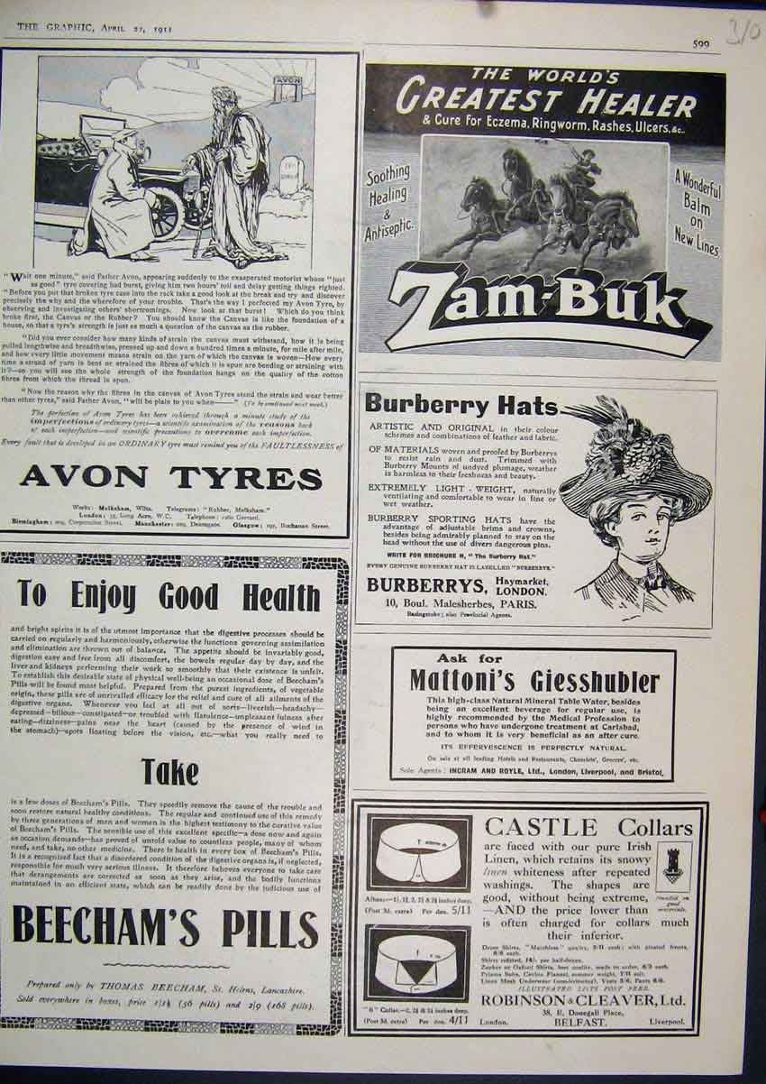 Print 1911 Advert Beecham Pills Burbery Hats Avon Tyres 10Mar1 Old Original