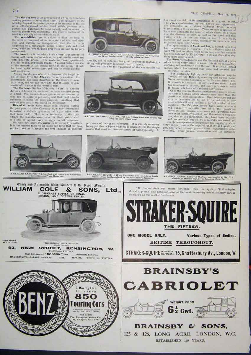 Print 1911 Advert Cabriolet Motor Car Benz Willaim Cole Rover 25Mar1 Old Original