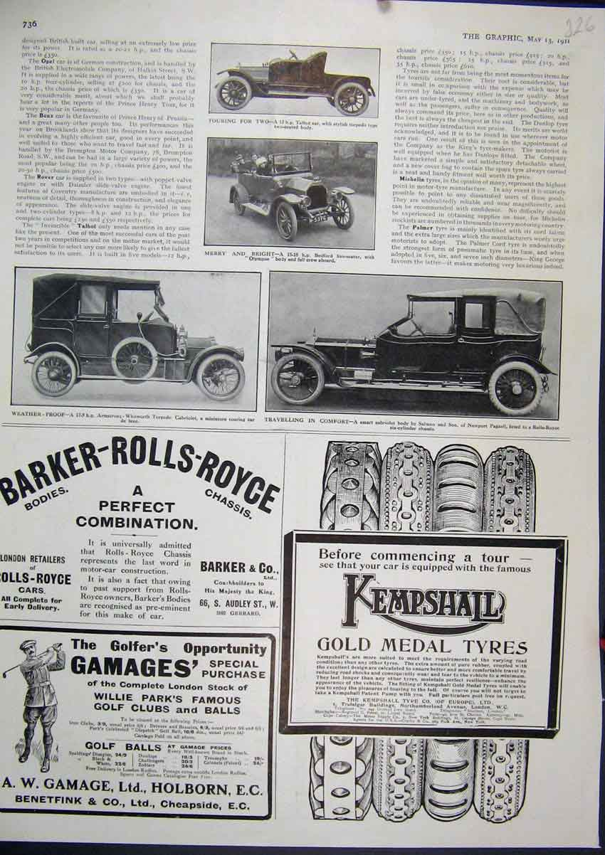 Print 1911 Advert Kempshail Car Tyres Gamage Holburn Golf 26Mar1 Old Original