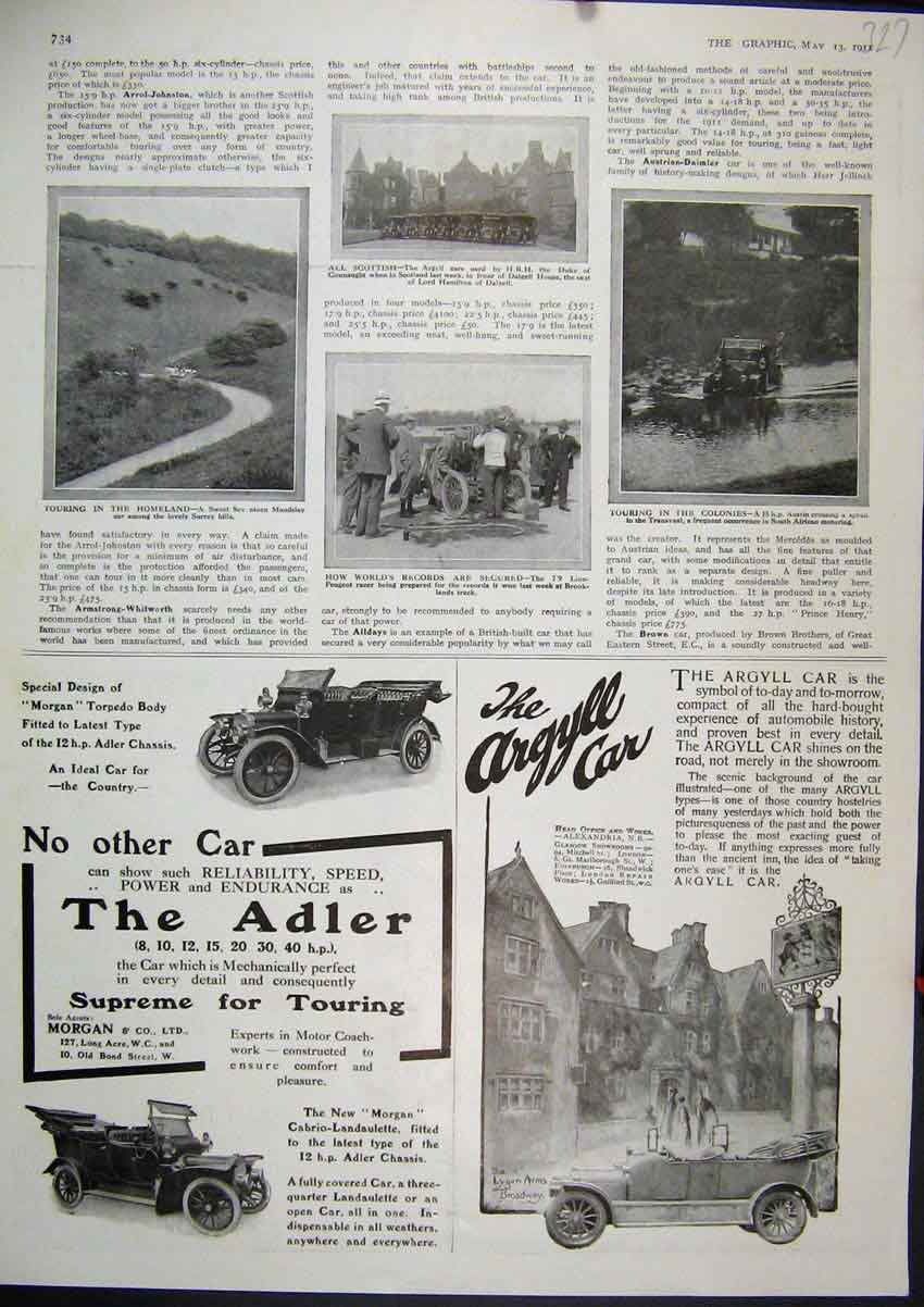 Print Advert 1911 Argyll Car Alder Morgan Surrey Hill Peugeot 27Mar1 Old Original