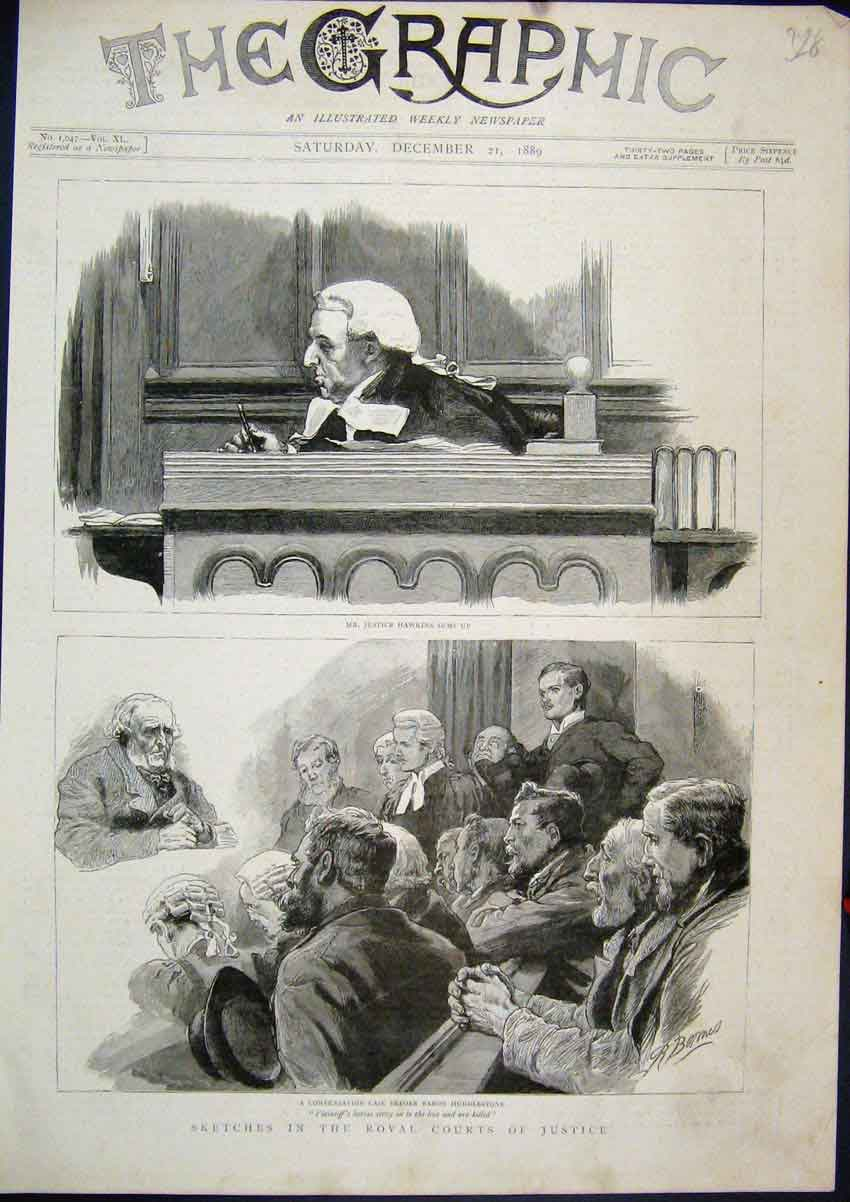 Print 1889 Royal Court Justice Hawkins Baron Huddlestone 28Mar1 Old Original
