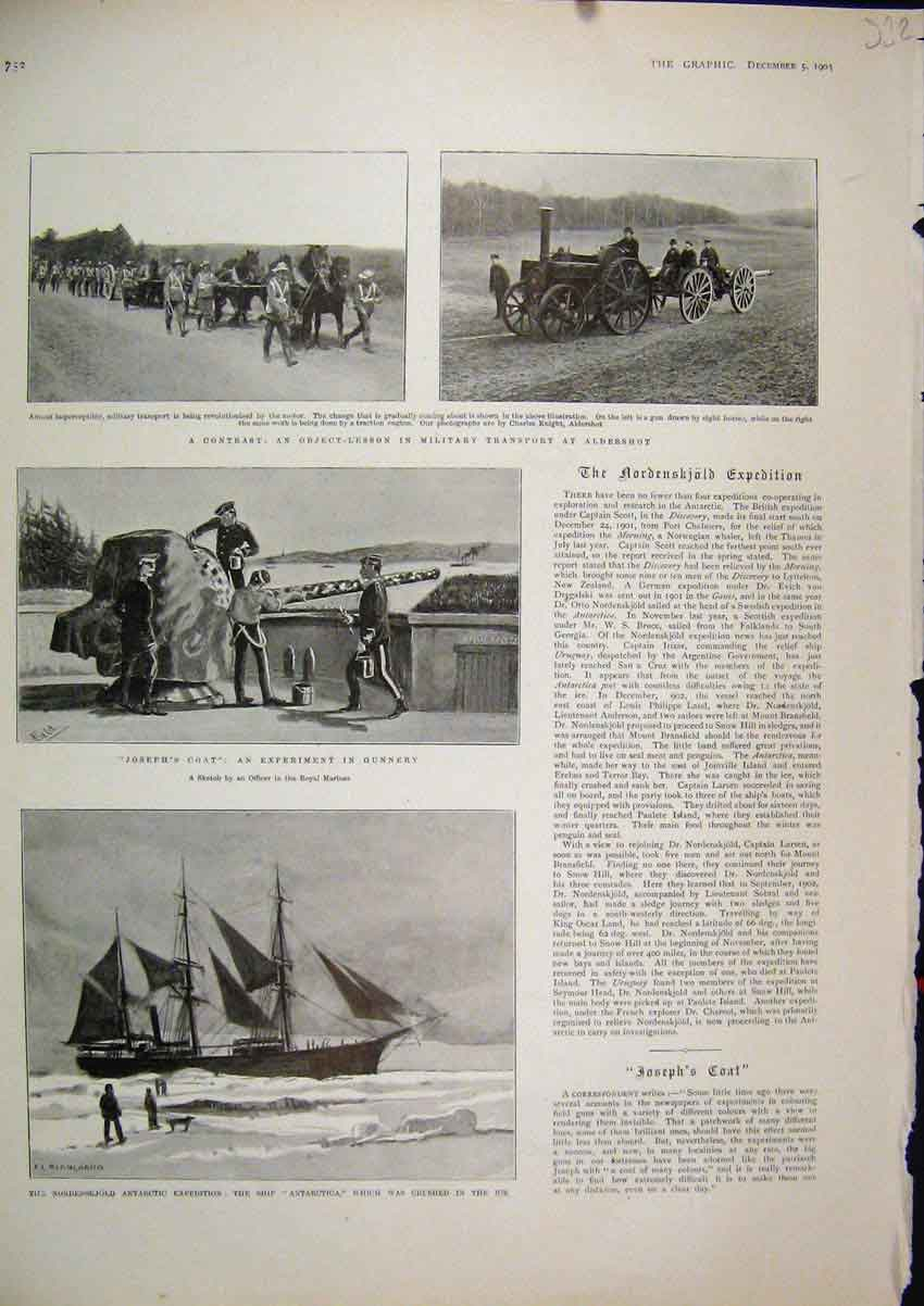 Print 1903 Military Transport Aldershot Ship Antarctica Ship 32Mar1 Old Original