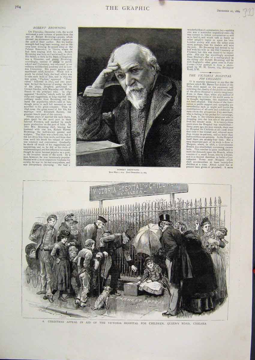 Print 1889 Portrait Robert Browning Victoria Hospital Chelsea 33Mar1 Old Original