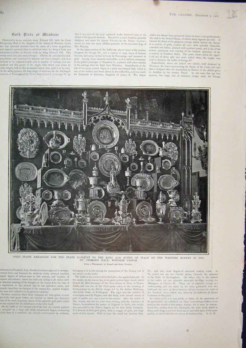Print 1903 GPlate State Banquet King Italy Windsor Castle 35Mar1 Old Original