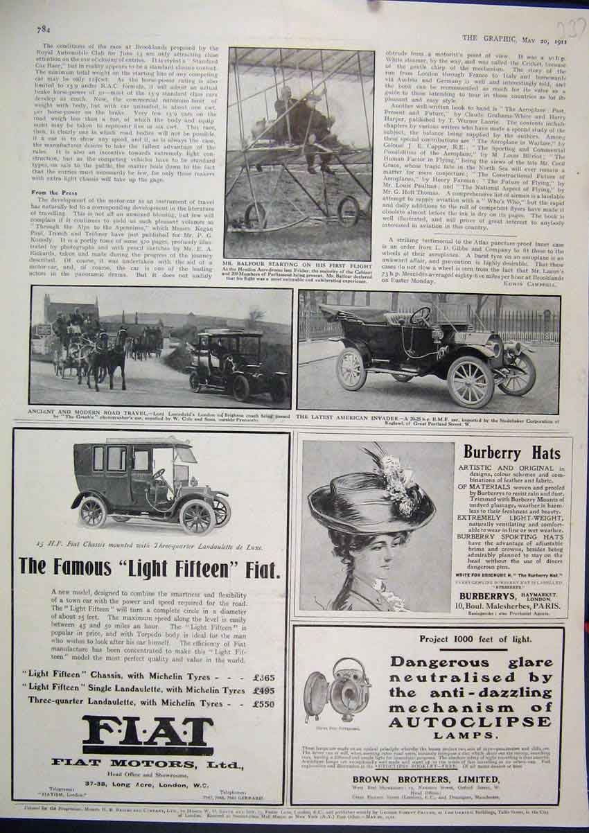 Print 1911 Advert Burberry Hats Fiat Motors Autoclipse Lamp 37Mar1 Old Original