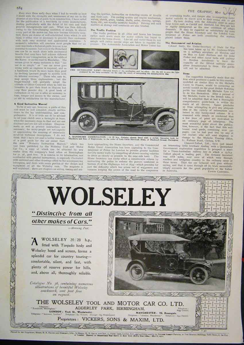 Print Advert Wolseley Motor Car 1911 Daimler Limousine Lamp 48Mar1 Old Original