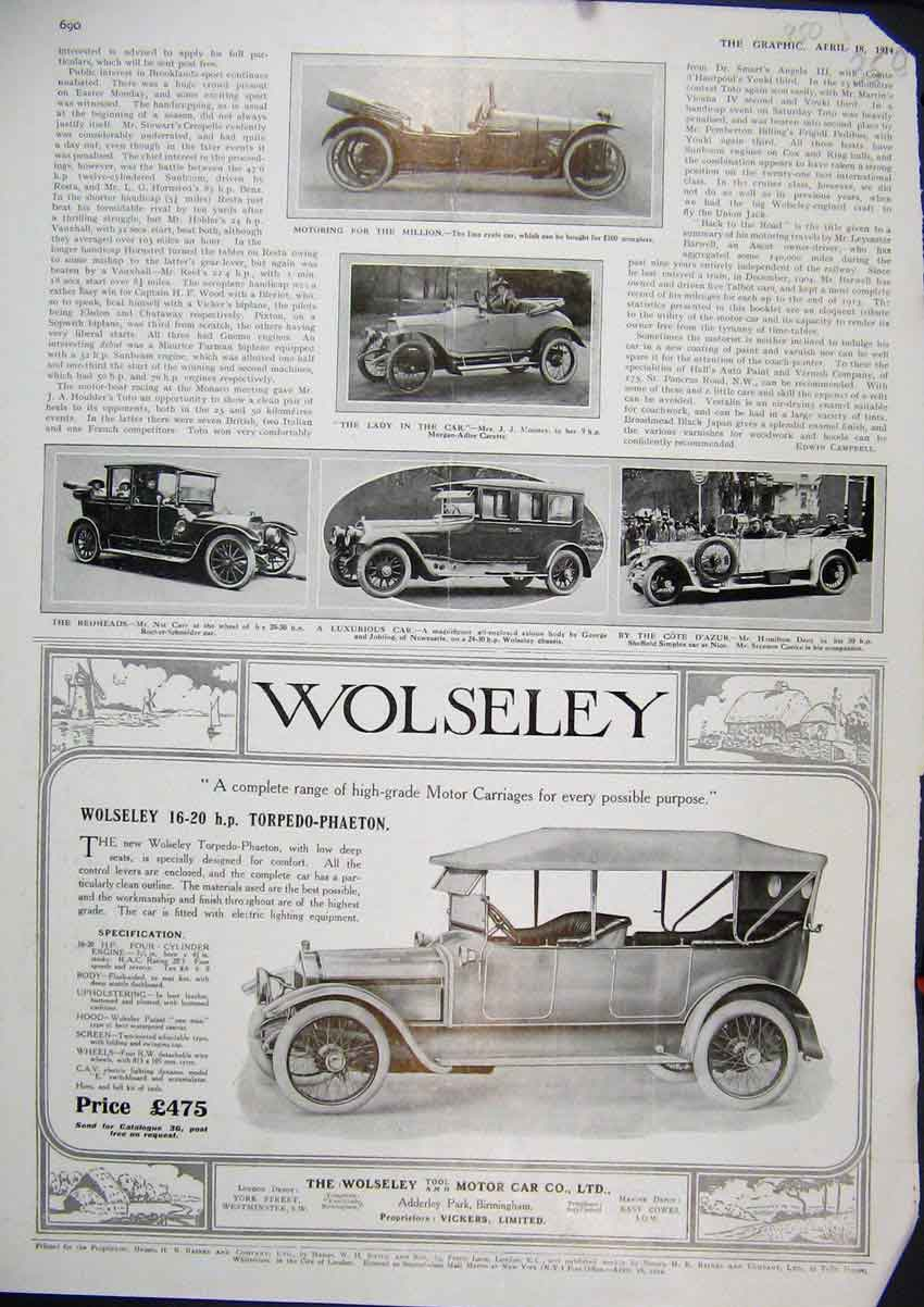 Print 1914 Advert Wolseley Torpedo-Phaeton Motor Car Imp 50Mar1 Old Original