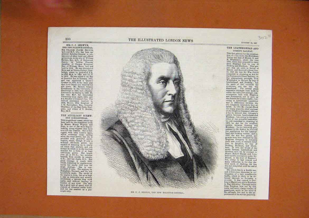 Print 1867 Portrait Selwyn New Solicitor General Judge Wig 02Umar1 Old Original