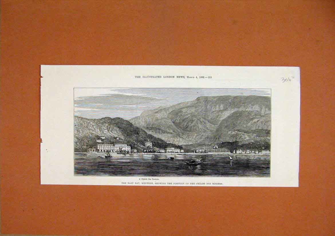 Print 1882 East Bay Mentone Chalet Des Rosiers Mountains 06Umar1 Old Original
