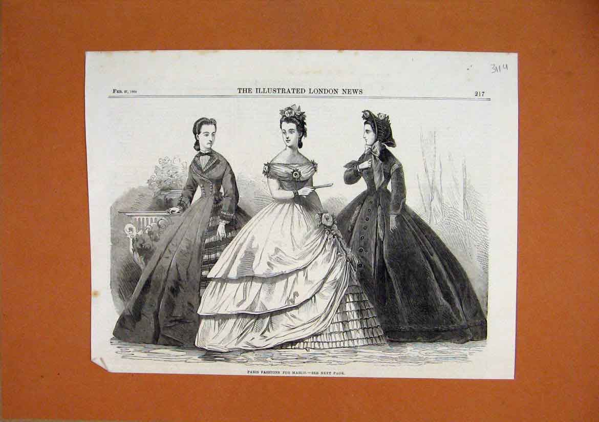 Print 1864 Paris Fashions March Women Dresses 11Umar1 Old Original