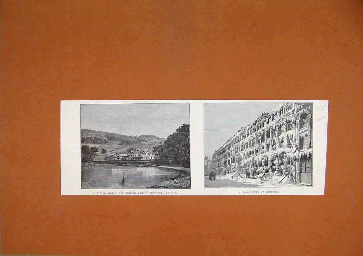 Print 1888 Low-Wood Hotel Windermere Frozen Fire Montreal 12Mmar1 Old Original