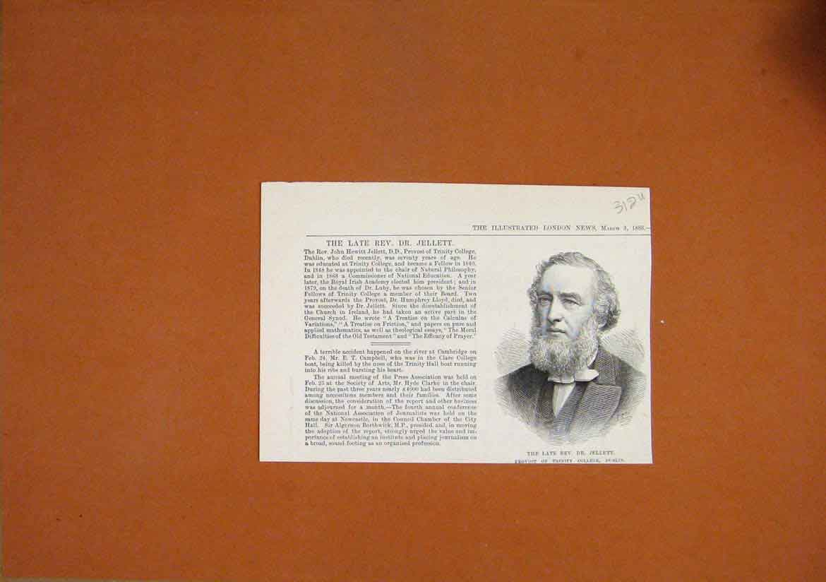 Print 1888 Portrait Late Rev. Jellett Provost Trinity College 12Umar1 Old Original