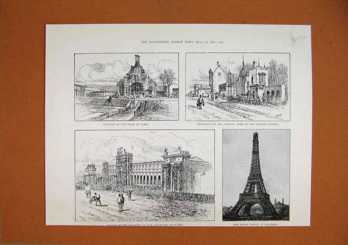 Print 1889 Pavilion Ville Paris Eiffel Tower Ministry War 17Umar1 Old Original