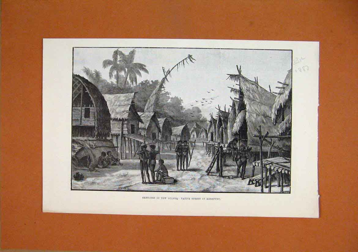 Print 1887 Sketches New Guinea Native Street Kerepunu 31Lmar1 Old Original