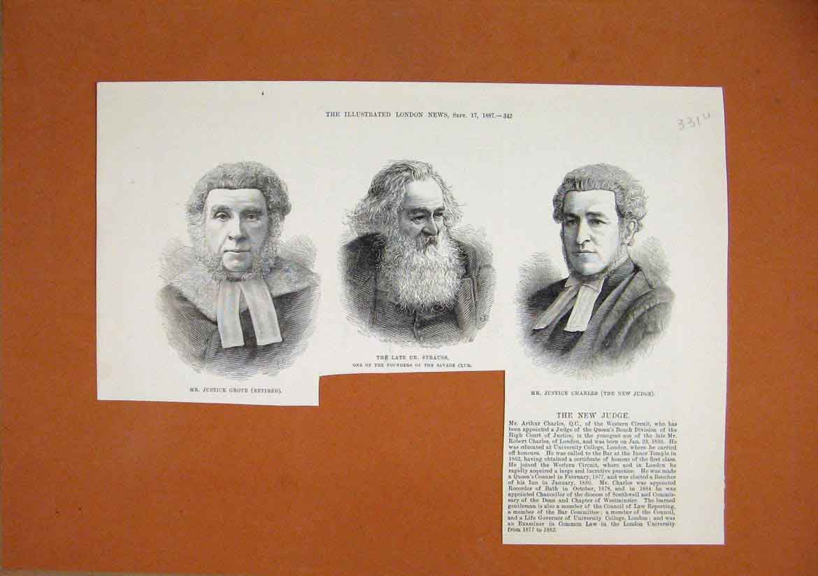 Print Portrait Justice Grove Strauss Charles 1887 Savage Club 31Umar1 Old Original