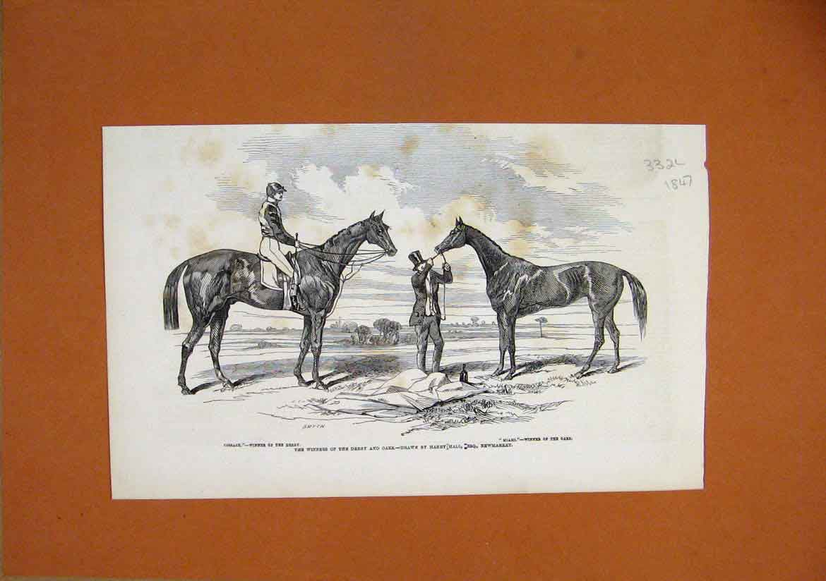 Print 1847 Horse Winners Derby Oaks Miami Cossack Newmarket 32Lmar1 Old Original