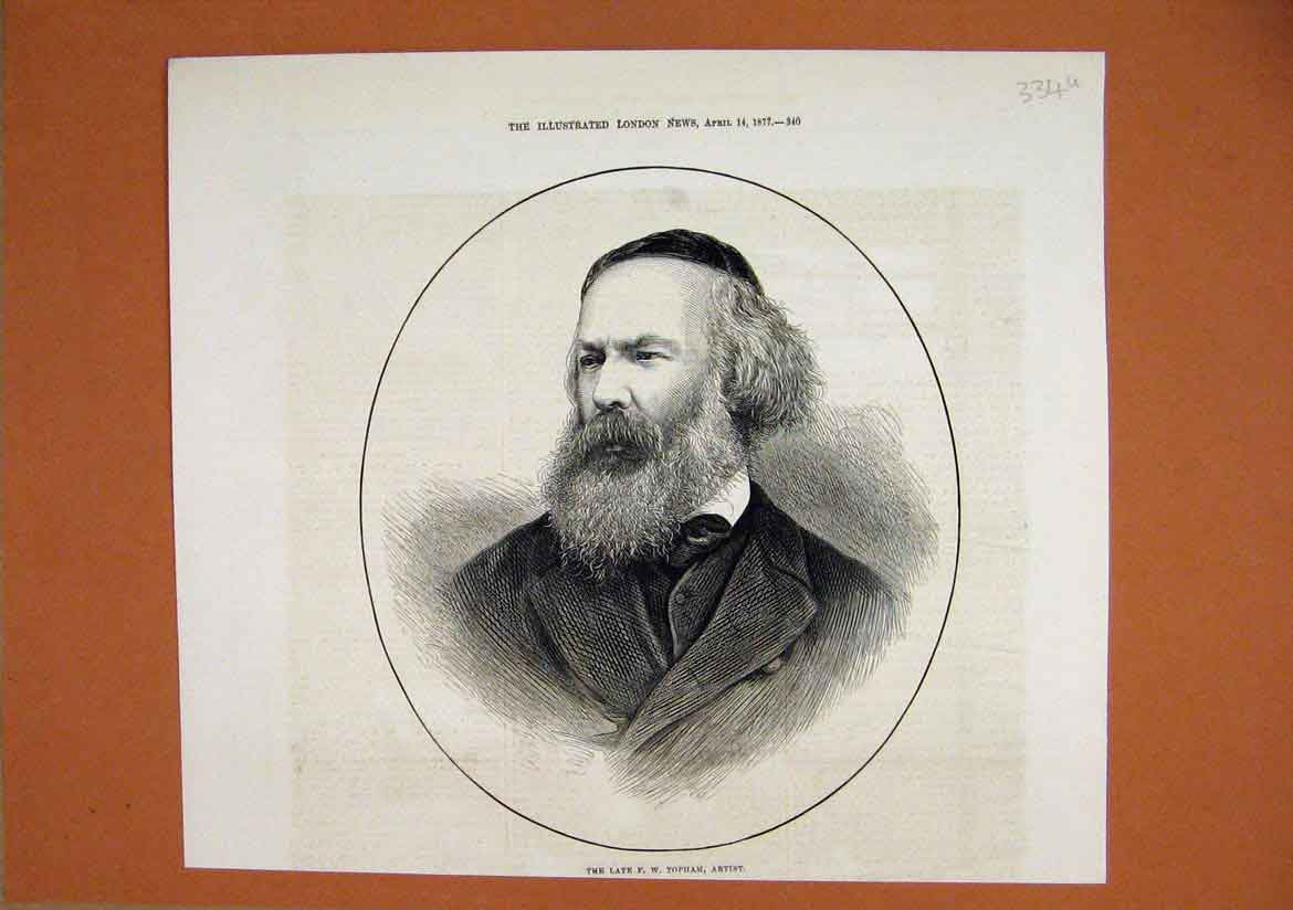 Print 1877 Portrait Late Topham Water Colour Artist 34Umar1 Old Original