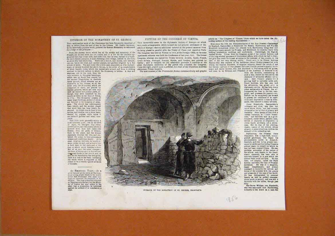 Print 1856 Interior Monastery George Balaclava Rifle 35Lmar1 Old Original