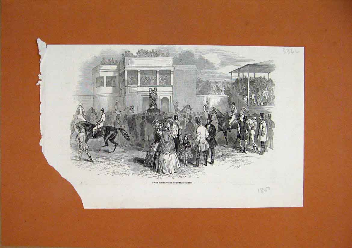 Print 1847 Ascot Horse Races View Stewards Stand Horses 36Lmar1 Old Original
