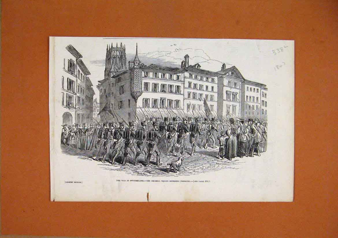 Print 1847 War Switzerland Federal Troops Fribourg Soldiers 38Lmar1 Old Original