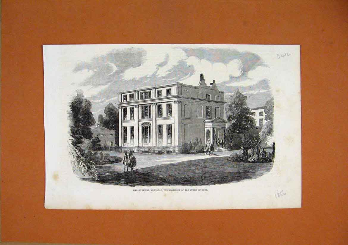 Print Harley House New Road Residence Queen Oude 1856 41Lmar1 Old Original