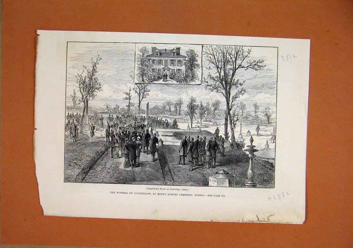 Print 1882 Funeral Longfellow Mount Auburn Cemetry Boston 51Lmar1 Old Original