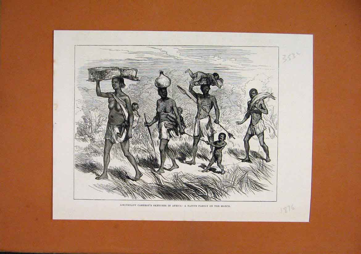 Print 1876 Lieutenant Cameron Sketch Africa Native Family 53Lmar1 Old Original
