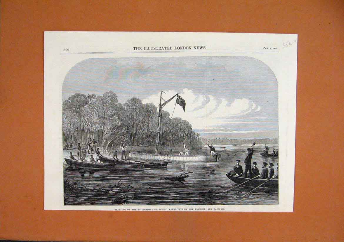 Print 1867 Livingstone Searching Expedition Zambesi River 54Umar1 Old Original