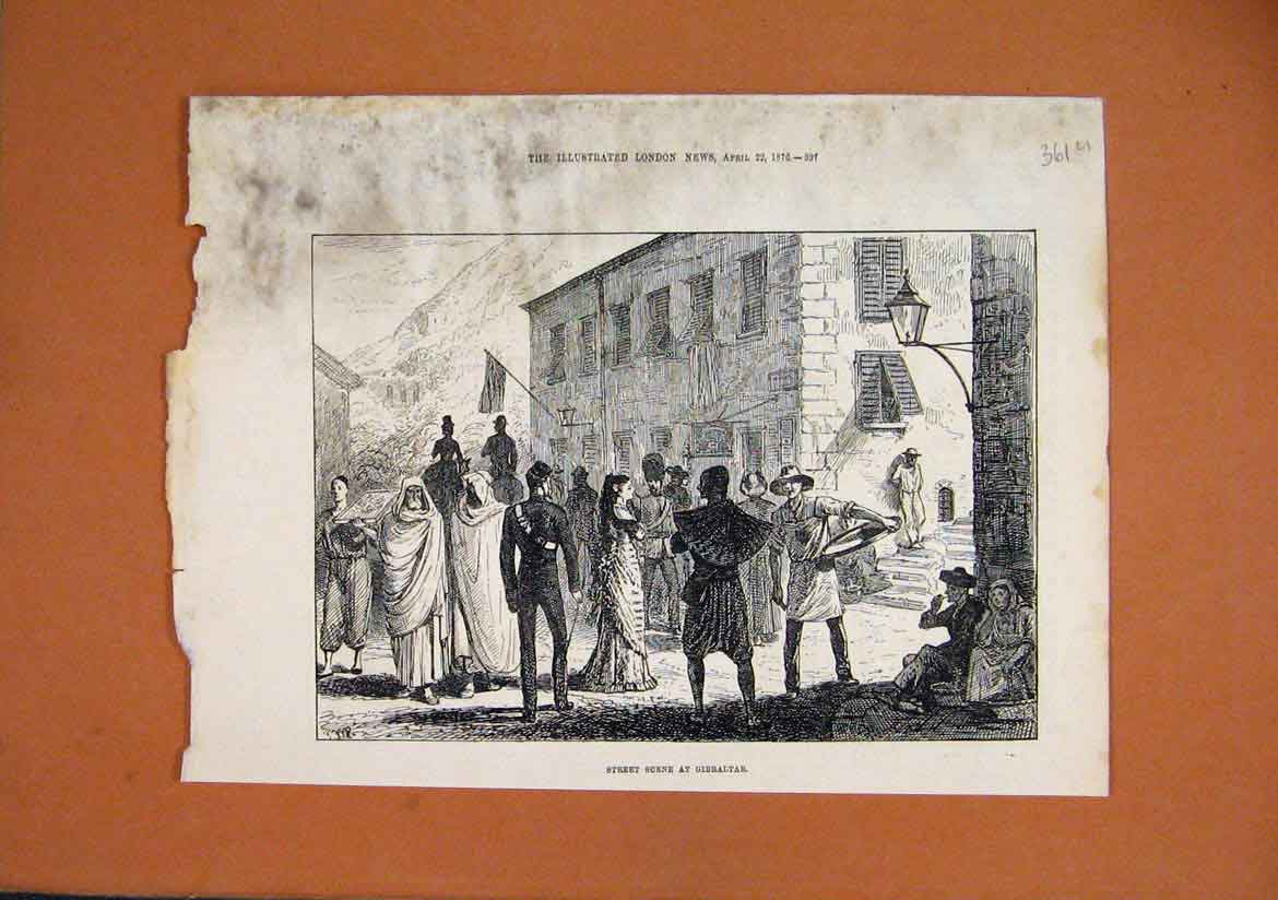 Print 1876 Street Scene Gibraltar Building People 61Umar1 Old Original