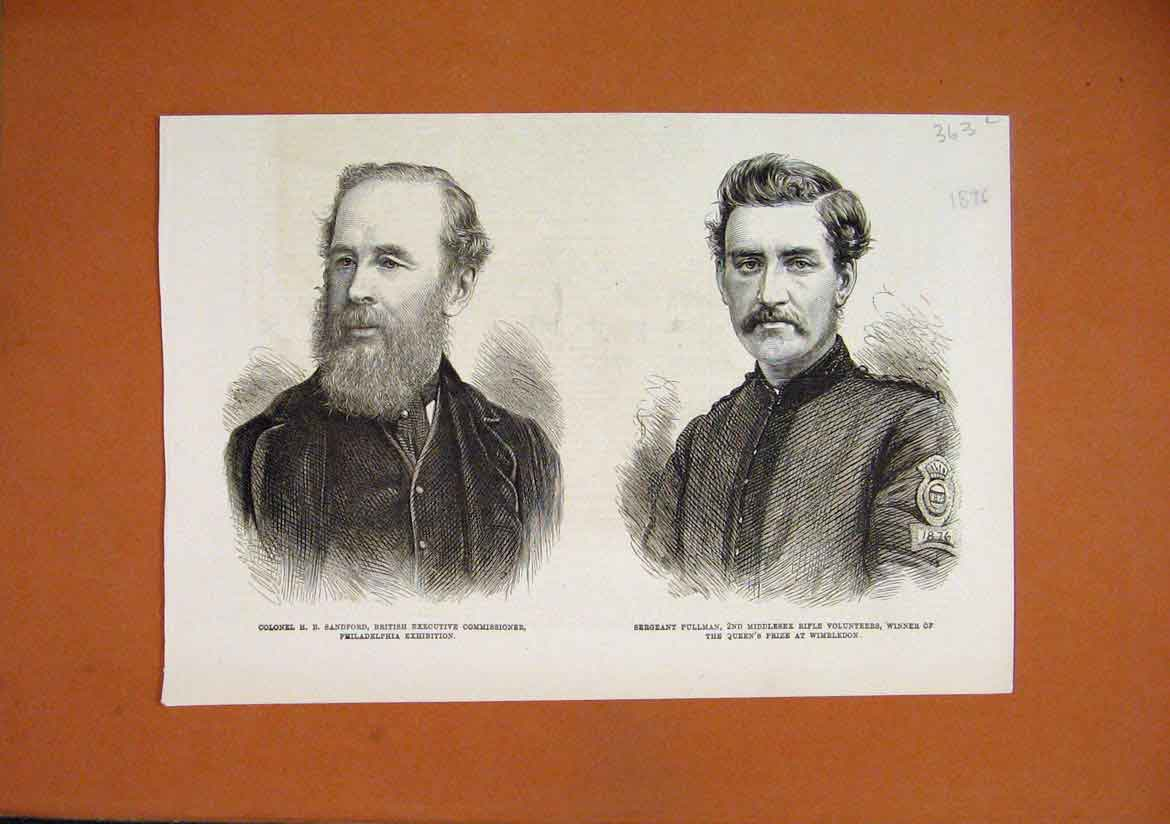 Print 1876 Portrait Colonel Sandford Sergeant Pullman Rifle 63Lmar1 Old Original