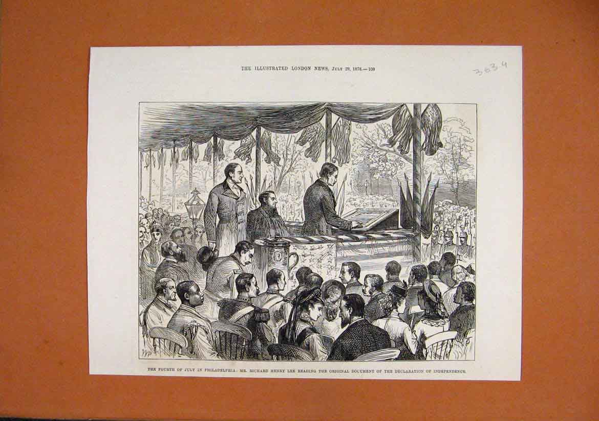 Print 1876 Philadelphia Richard Henry Lee Independence Day 63Umar1 Old Original