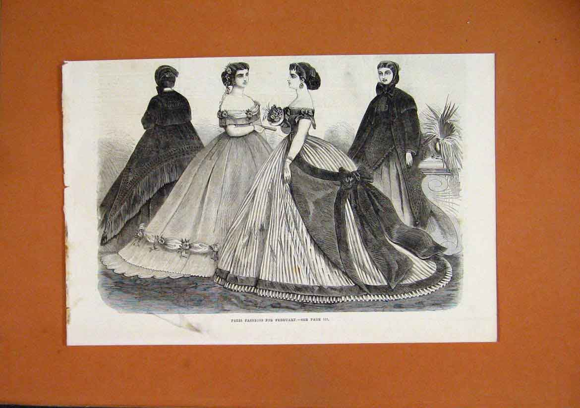 Print 1864 Paris Fashions February Women Beautiful Dresses 71Lmar1 Old Original