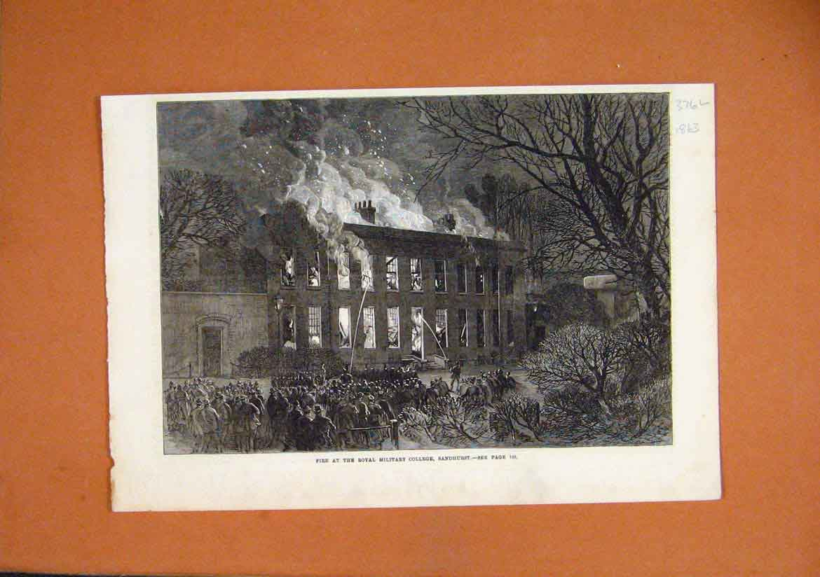 Print 1863 Fire Royal Military College Sandhurst Fine Art 76Lmar1 Old Original