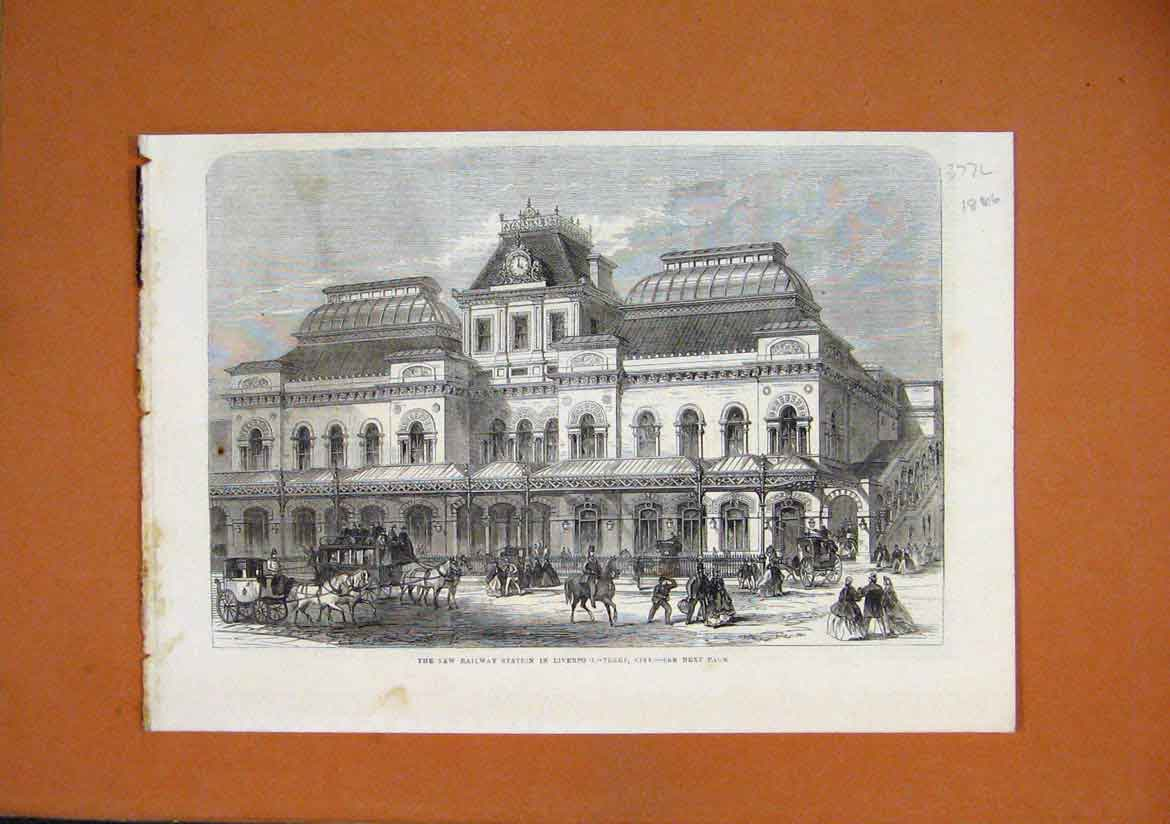 Print New Railway Station 1866 Liverpool Street Station 77Lmar1 Old Original