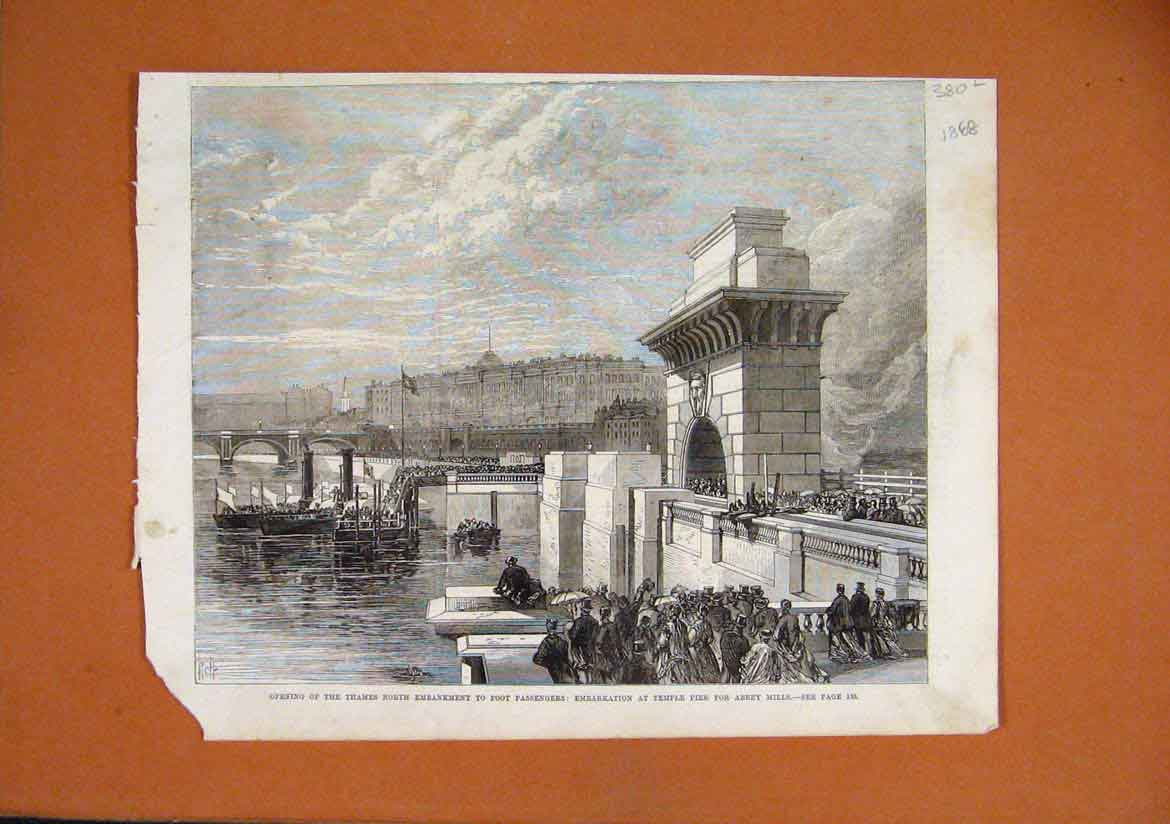 Print Thames North Embankment 1868 Temple Pier Abbey Mills 80Lmar1 Old Original